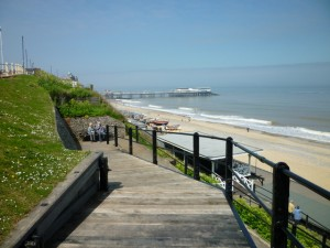 Cromer from the cliffs – blue sky at last